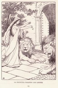 A princess feeding two lions in a courtyard