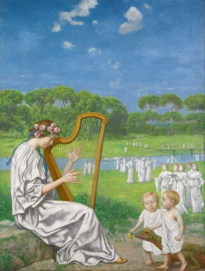 A redhead with rose wreath plays the harp outdoors while two toddlers dressed in white robes bring her flowers and what looks like a large iguana, or a small dinosaur.