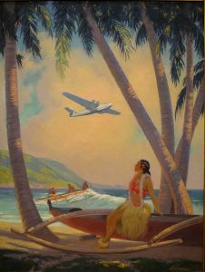 A young Hawaiian lady looks at an airplane as an outrigger with four people ride the wave in.