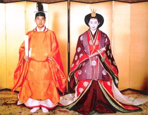 Emperor and Empress dressed in traditional wedding clothes 1959
