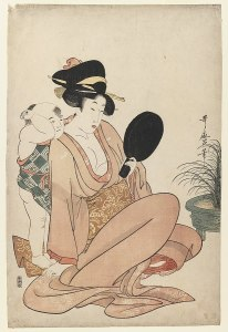 A Japanese woman with an open kimono sits with her small son behind her. They are both looking into a mirror.