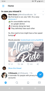 Mimi Grace's Along for the Ride out July 16, 2019 is a sexy romcom with 1) (truck) an unavoidable road trip, 2) (tooth) an uptight dentist, 3) (black girl reading) a heroine doing her best, 4) (anger emoji) they definitely hate each other.