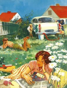 Father washes the car while baby muddies it; a child and a wife are reading in the grass nearby.