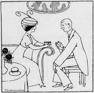 A young lady and gentleman having tea at five-clock.