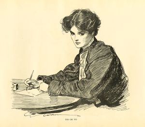 Gibson girl writing on piece of paper.