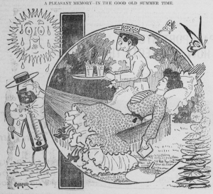 A woman lounging on a hammock as a man brings them drinks. She's holding a book, and her fan is on the ground.