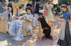 Couples, friends and singles under a tree -- wicker chairs, blueberries. Summer in the late 19th century.