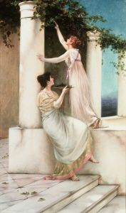 Two young women gathering grapes in a Grecian setting