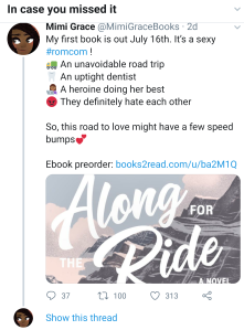 Twitter screenshot showing tropes: sexy romcom, an unavoidable road trip, an uptight dentist, a heroine doing her best, they definitely hate each other.