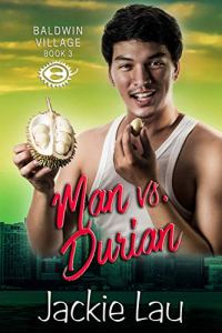 Handsome Asian guy holding a durian fruit