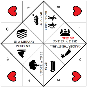 a paper fortune teller with eight outcomes for a first kiss: in a car, dance floor, under a desk, under the stars, sofa, under a tree, on a boat, in a library