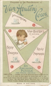 A four-piece make a square puzzle from Van Houten's cocoa, featuring a boy sipping from a cup.