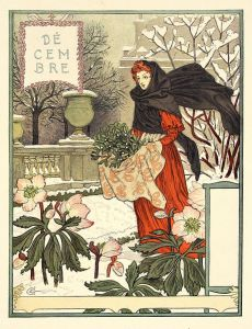 A lady gathering green branches in a snowy landscape that still has flowers.