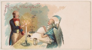 Father Time with a butler snuffing out 1889's candle, and lighting 1890's candle.