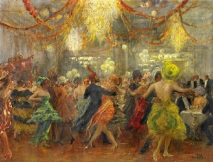 Ballroom scene with many colorful lights and dancing