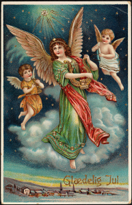 Three angels, one playing flute, another a lyre and a third a triangle