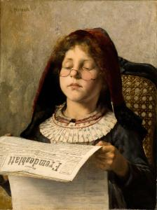 Girl reading a newspaper with glasses sliding down her nose, and a skeptical, intense look on her face