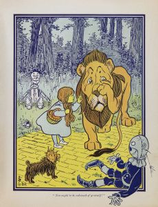 Wizard of Oz Illustration. Dorothy consoles the Cowardly Lion with Tinman and Scarecrow looking on.