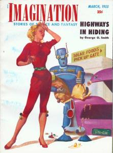 Robot carrying grocery bags for a lovely young housewife; a bag has burst all over her stylish car.