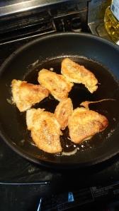 Pork bun slices in a skillet