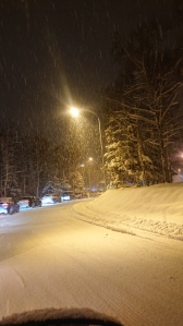 Snowy road to the airport with cars waiting to pick up loved ones