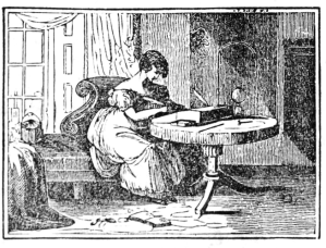 Young woman writing at a portable writing desk