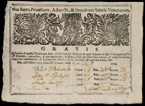 Italian pass guaranteeing that the bearer is in good health, and may pass freely. 1713