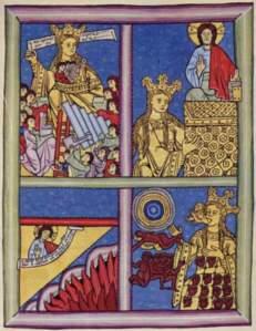 von Bingen's Church showing her vision. The Bride of Christ is lower below Christ on a sumptuous dias