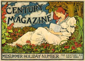 Lady reading in a midsummer meadow of roses and bell flowers