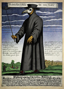 a plague doctor in a long beaked mask with a robe, gloves and hood
