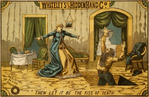 "A man either sinking or rising in a stage trap door with a woman being frightened. ""Then let it be the kiss of death"" reads the caption."