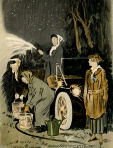 Tish, Aggie and Lizzie putting out a fire while a young heroine looks on.