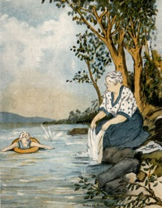 Older woman swimming in an inner tube calling to an older woman washing a white sheet on the shore.