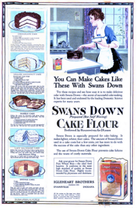 Flour ad that shows how to bake a cake
