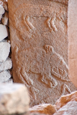 Animal figures carved on stele