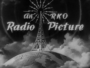 RKO radio pictures logo with a radio antennae on top of the globe