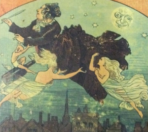 Agnes Guppy-Volckman flying over London supported by angels and cupid flying on what looks like a beer bottle. She has a pen in her hand, and is dressed like Queen Victoria.