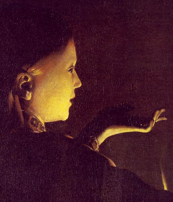 Girl in a painting, underlit by a golden glow