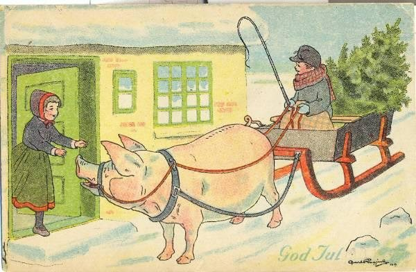 A young girl welcoming a boy on a sleigh pulled by a giant pig. The boy has a Christmas tree in back. The card says, God Jul.