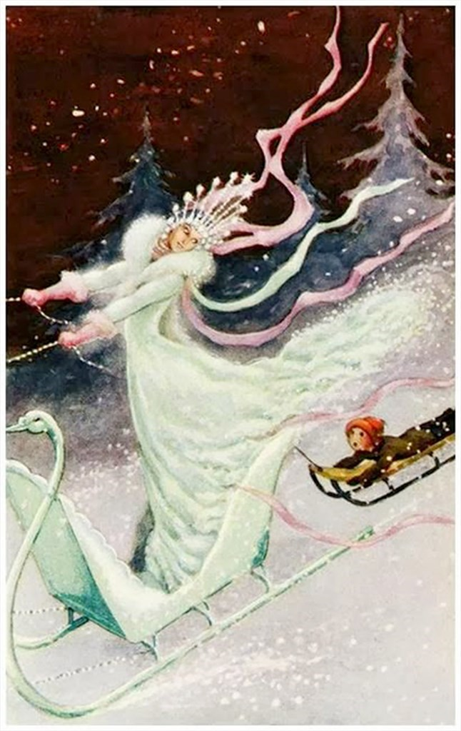 Snow queen in a swan sled. An awed little boy in a sleigh behind her is entranced with her beauty and her shimmering crown and fur-trimmed gown that seems to turn into snow. They are going downhill fast through the snow at night.