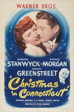 Barbara Stanwyck being kissed by Dennis Morgan in a Warner Bros Poster for Christmas in Connecticut