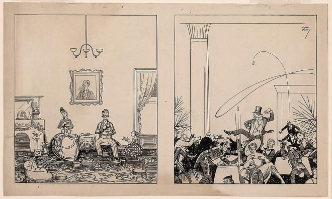 Two Victorians sitting in a parlor alone with their daughter/maid, socially distanced, prob. circa 1867. Right side shows a party set in 1917, crowded living room in art deco style with fat gentlemen leaping around, a round lady sipping champagne and laughing, someone crawling on the floor, possibly as a waiter pops a champagne cork out of his butt??? There's a jazz band playing under the palmettos.