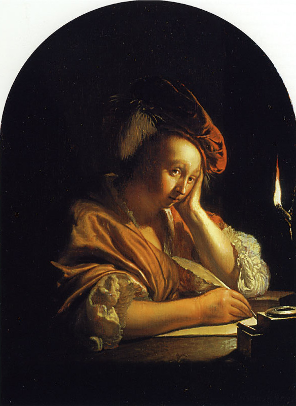 A woman in a dark room writing with feather quill and ink. She has a shawl around her shoulders, and a velvet slouchy beret.