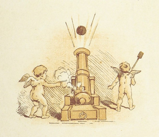 Two cupids manning a cannon