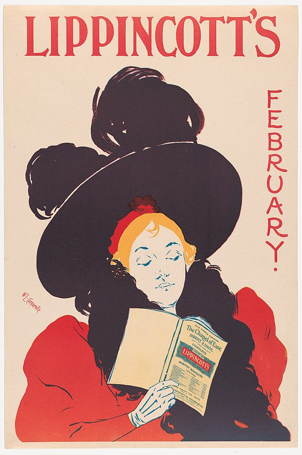 A fashionable lady in a befeathered big hat and stole holds a Lippincott's magazine. TEXT: Lippincott's February. The Chaple of Ease
