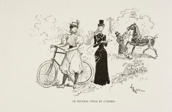 TEXT: LE NOUVEAU STYLE ET L'ANCIEN Two young women, one standing next to a bicyle in 19th century bicycling clothes, and the other standing near her in riding habit (hat, veil, long dress), gesturing at her groom who is wrestling with her horse.