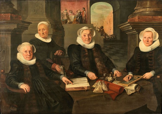 Four elderly women in Elizabethan ruffs are at a table with money. One is pointing to a book, the other is writing something on a chalkboard. They really manage a leprosy asylum, but they do seem like they have it together as far as money goes.