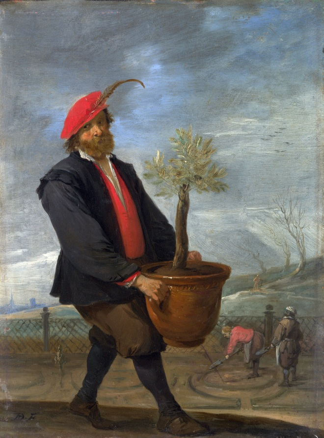 A gardener from the 17th century carries a potted tree out to the garden. In the background, more gardeners are hoeing and preparing beds and perhaps mazes for the coming summer.