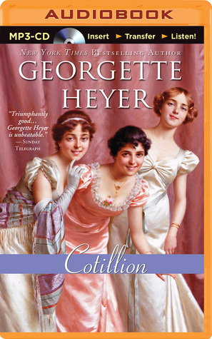 Three ladies at a ball, it looks like. Public domain photo on the cover of Georgette Heyer's Cotillion