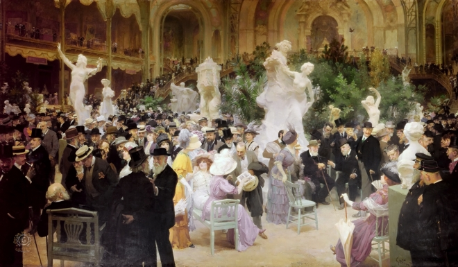 Dinner Party by Jules-Alexander Grun showing hundreds of people in a grand hall with a mezzanine also full of tables and people.